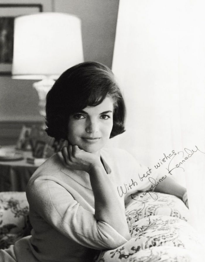 Jackie Kennedy back in the day in a black and white signed photo