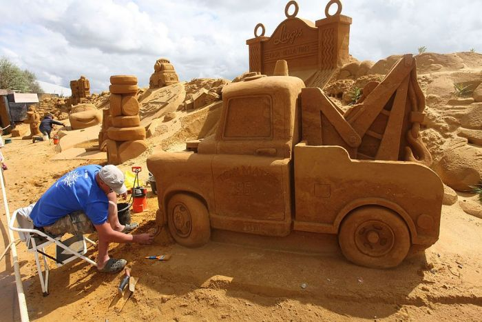 A tractor built of of sand