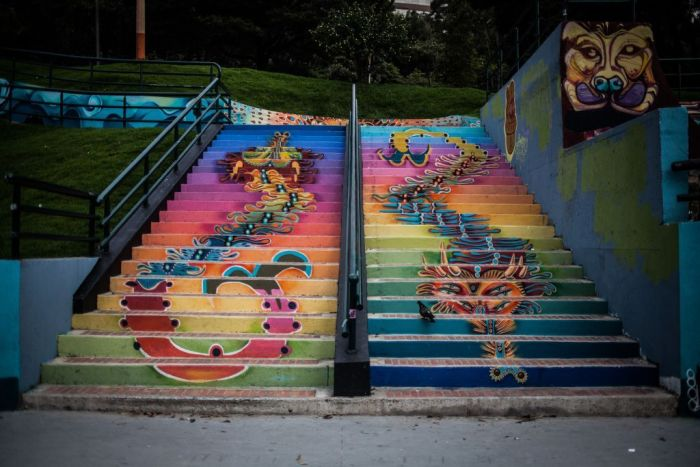 A colorful and artistic staircase in Colombia