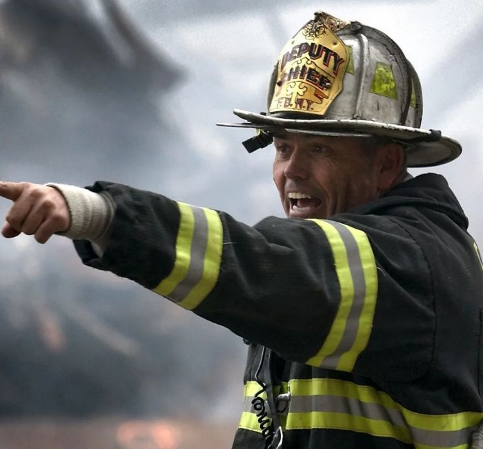 A firefighter hard at work