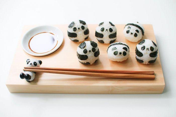 Panda shaped sushi