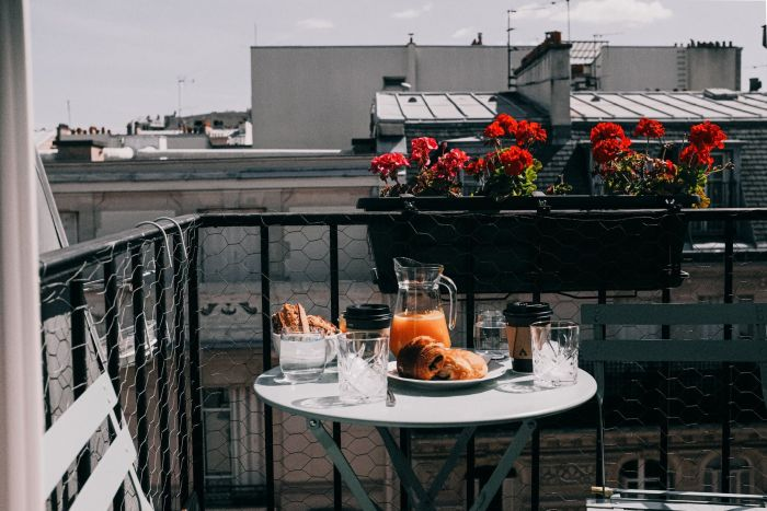 A French breakfast on the balcony