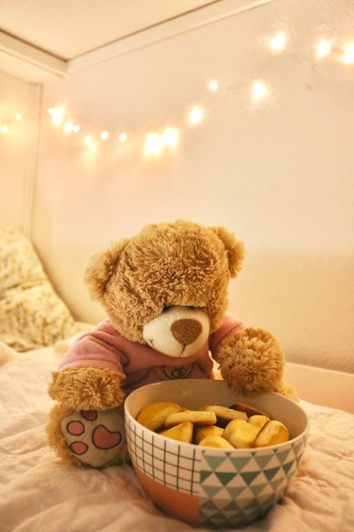 An adorable teddy bear looking at a bowl of french fries
