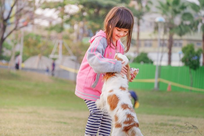 A little girl playing with her dog
