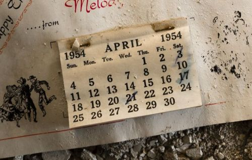 Old wall calendar from 1954