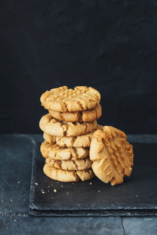 Stacked up peanut butter cookies