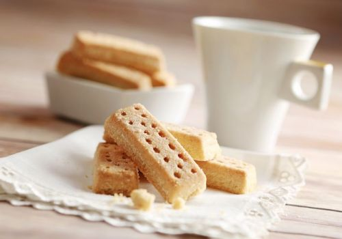 Shortbread biscuits arranged on an English napkin