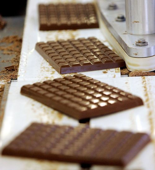 Chocolate bars being produced