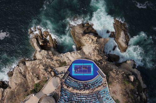 Aerial view of seaside amphitheater in Mexico