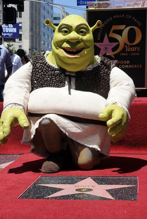 Shrek posing near his Hollywood walk of fame star