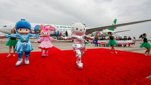 Hello Kitty performs with My Melody and LIttle Twin Stars during the EVA Air Hello Kitty Shining Star Jet - Inaugural Event