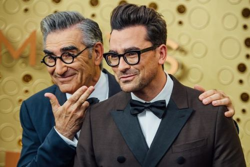 Eugene Levy and Dan Levy arrive at the 71st Emmy Awards