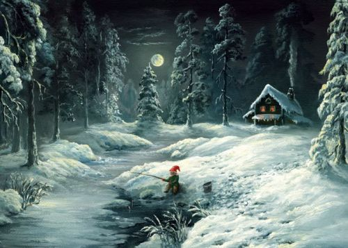 Oil painting of elf fishing in lake surrounded by snow