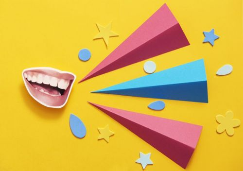Collage on yellow background of mouth laughing and colorful details
